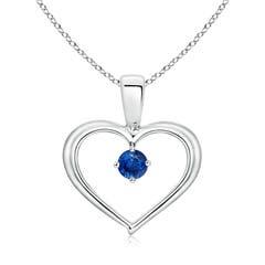 Solitaire Round Sapphire Open Heart Pendant