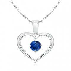 Solitaire Round Sapphire Open Heart Pendant
