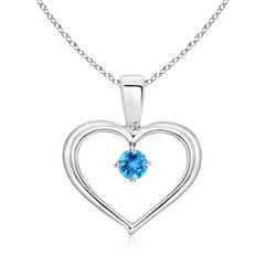 Solitaire Round Swiss Blue Topaz Open Heart Pendant
