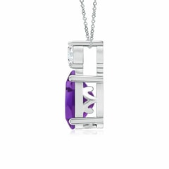 Toggle Oval Amethyst Solitaire Pendant with Diamond