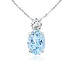 Prong-Set Oval Aquamarine Solitaire Pendant with Diamond