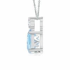 Toggle Oval Aquamarine Solitaire Pendant with Diamond