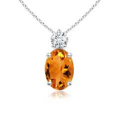 Oval Citrine Solitaire Pendant with Diamond