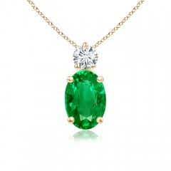 Oval Emerald Solitaire Pendant with Diamond