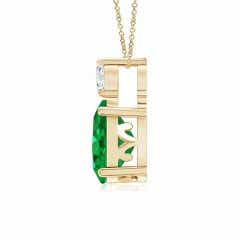 Toggle Oval Emerald Solitaire Pendant with Diamond