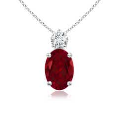Prong-Set Oval Garnet Solitaire Pendant with Diamond
