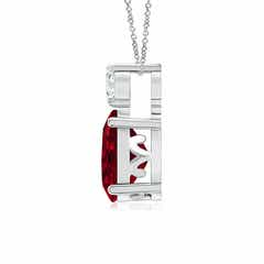Toggle Oval Garnet Solitaire Pendant with Diamond
