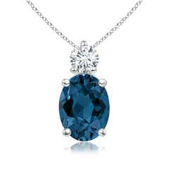 Oval London Blue Topaz Solitaire Pendant with Diamond