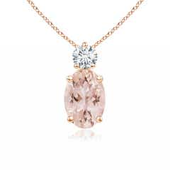 Oval Morganite Solitaire Pendant with Diamond