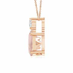 Toggle Oval Morganite Solitaire Pendant with Diamond