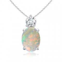 Oval Opal Solitaire Pendant with Diamond