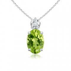 Oval Peridot Solitaire Pendant with Diamond