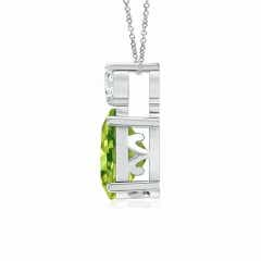 Toggle Oval Peridot Solitaire Pendant with Diamond