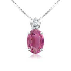 Prong-Set Oval Pink Tourmaline Solitaire Pendant with Diamond