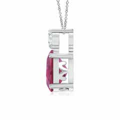 Toggle Oval Pink Tourmaline Solitaire Pendant with Diamond