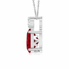 Toggle Oval Ruby Solitaire Pendant with Diamond