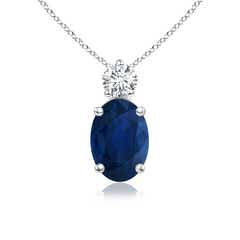 Prong Set Oval Sapphire Solitaire Pendant with Diamond