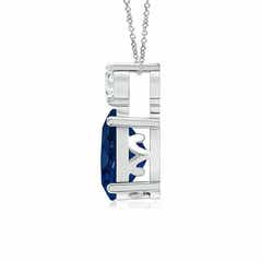 Toggle Oval Sapphire Solitaire Pendant with Diamond