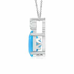 Toggle Oval Swiss Blue Topaz Solitaire Pendant with Diamond