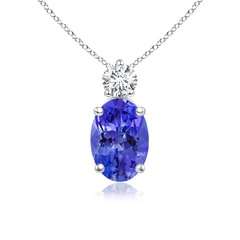 Oval Tanzanite Solitaire Pendant with Diamond