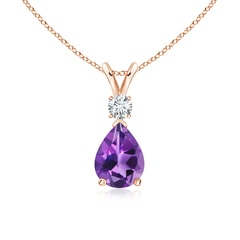 Angara Rose Gold Diamond Halo Amethyst Teardrop Pendant 6u4ILr2k