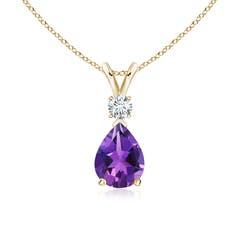Amethyst Teardrop Pendant with Diamond