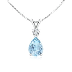 Aquamarine Teardrop Pendant with Diamond