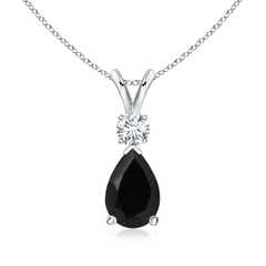Black Onyx Teardrop Pendant with Diamond