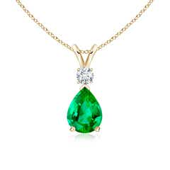 Pear Emerald Teardrop Pendant Necklace with Diamond