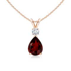 Pear Garnet Teardrop Pendant Necklace with Diamond