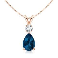London Blue Topaz Teardrop Pendant with Diamond