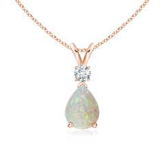Pear Opal Teardrop Pendant Necklace with Diamond