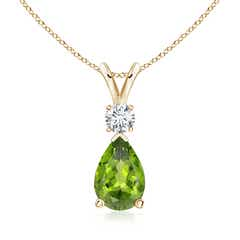 Peridot Teardrop Pendant with Diamond