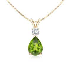 Angara Peridot and Diamond Trillium Flower Pendant dE0aWVfe