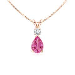 Pear Pink Sapphire Teardrop Pendant Necklace with Diamond