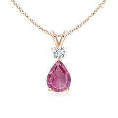 Pear Pink Tourmaline Teardrop Pendant Necklace with Diamond