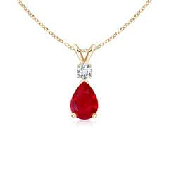 Pear Ruby Teardrop Pendant Necklace with Diamond