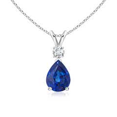Blue Sapphire Teardrop Pendant with Diamond
