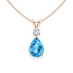 Pear Swiss Blue Topaz Teardrop Pendant Necklace with Diamond