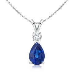 GIA Certified Sapphire Teardrop Pendant with Diamond