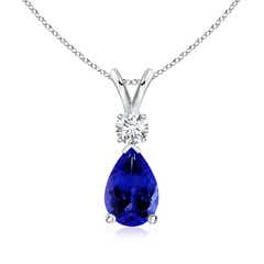 Tanzanite Teardrop Pendant with Diamond