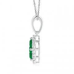 Toggle Diamond Framed Emerald Clover Pendant