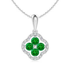 Diamond Framed Emerald Clover Pendant