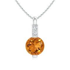 Round Citrine Solitaire Pendant with Diamond Bale