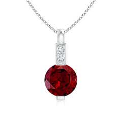 Round Garnet Solitaire Pendant with Diamond Bale