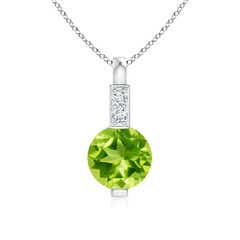 Round Peridot Solitaire Pendant with Diamond Bale