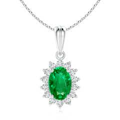 Oval Emerald Pendant with Floral Diamond Halo