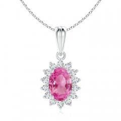 Floral Diamond Halo Oval Pink Sapphire Pendant Necklace