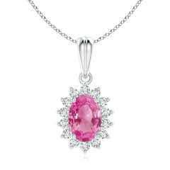 Oval Pink Sapphire Pendant with Floral Diamond Halo