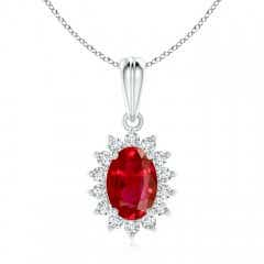 Floral Diamond Halo Oval Ruby Pendant Necklace